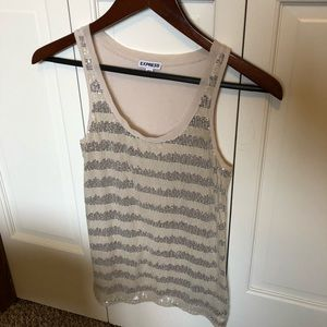 Nude colored sequined tank from Express